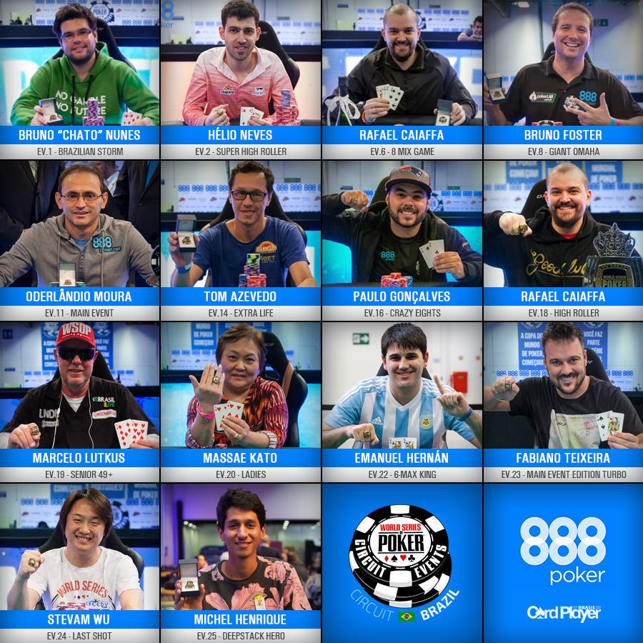 Conheça todos os campeões do WSOP Circuit Brasil/CardPlayer.com.br