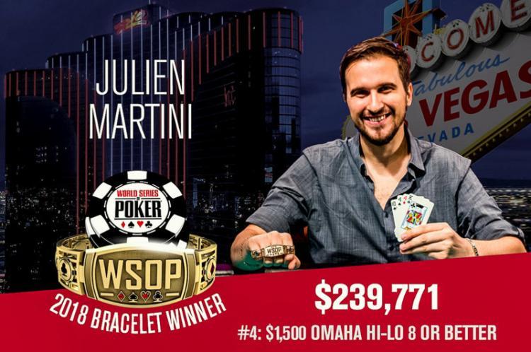 Julien Martini é campeão do Evento 4 da WSOP 2018/CardPlayer.com.br