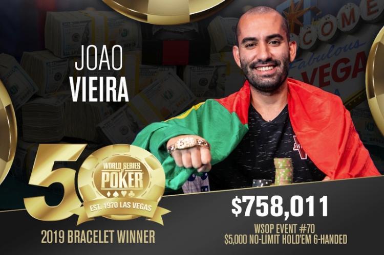 """João """"Naza114"""" Vieira conquista o título do Evento 70 da WSOP/CardPlayer.com.br"""