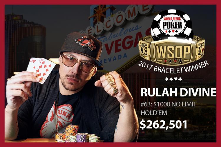 Após classificação em satélite online, Rulah Divine vence Evento 63 da WSOP/CardPlayer.com.br