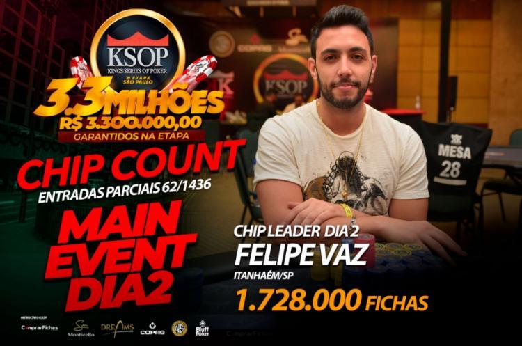 Felipe Vaz puxa a fila no Dia 3 do KSOP São Paulo/CardPlayer.com.br