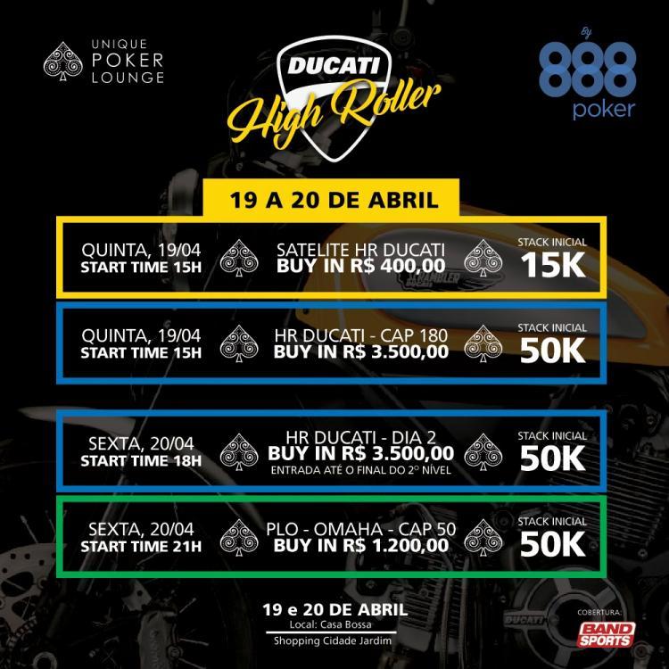 Denílson e Vivian Saliba confirmam presença na 3ª edição do High Roller Ducati/CardPlayer.com.br