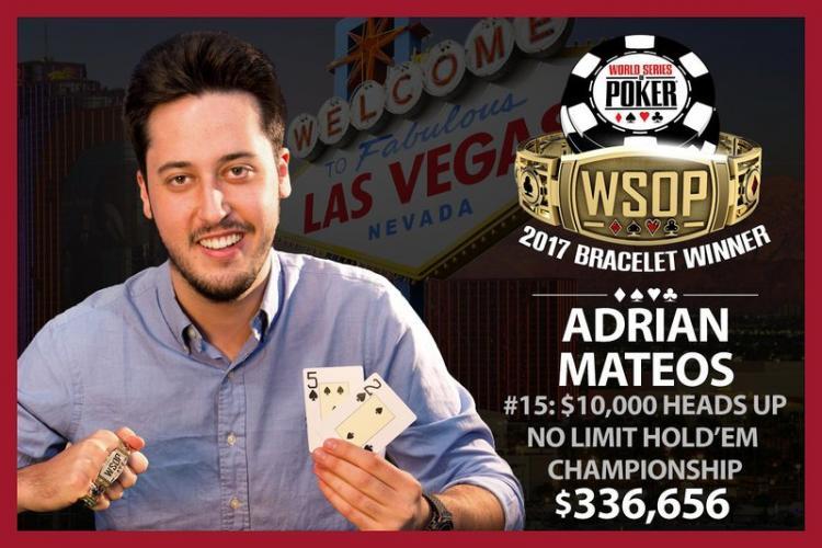 Adrián Mateos crava torneio de heads-up e se torna o mais jovem tricampeão da história da WSOP/CardPlayer.com.br