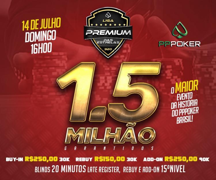 Liga Premium das Estrelas realiza neste domingo torneio com R$ 1,5 milhão garantidos no PPPoker/CardPlayer.com.br