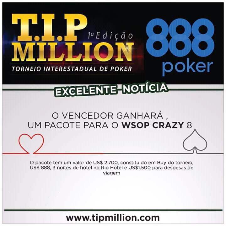 Campeão do T.I.P. Million vai ganhar pacote completo para o Crazy 8 da WSOP/CardPlayer.com.br