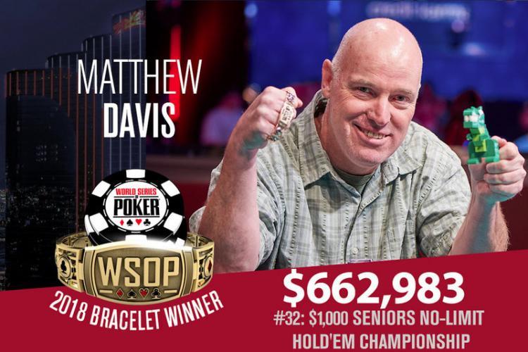Professor universitário é campeão do Seniors da WSOP 2018/CardPlayer.com.br