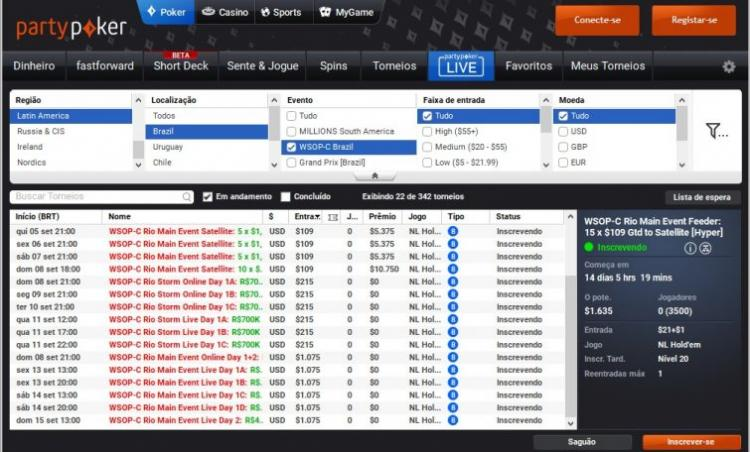 partypoker divulga cronograma de satélites para o WSOP Circuit Brasil/CardPlayer.com.br