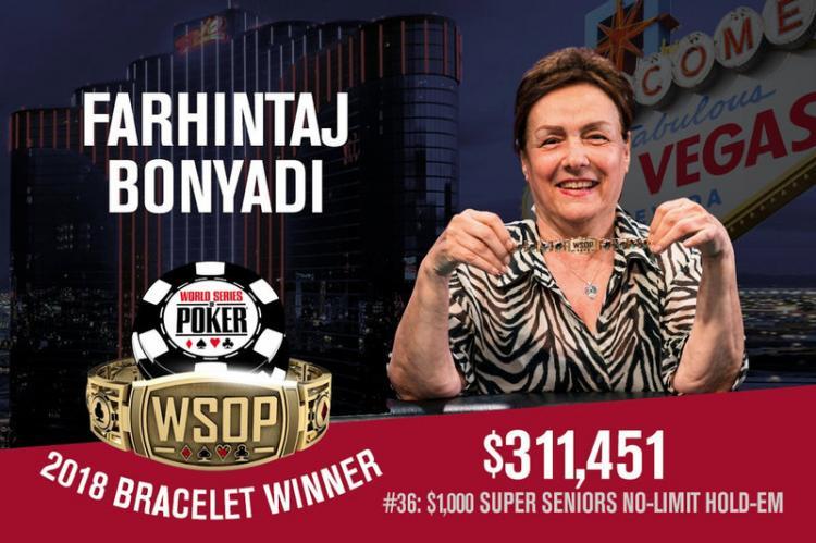 Fahrintaj Bonyadi crava Super Seniors e se torna a primeira campeã da WSOP 2018/CardPlayer.com.br