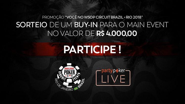 partypoker LIVE WSOP Circuit Brazil vai sortear buy-in de R$ 4.000 gratuitamente/CardPlayer.com.br