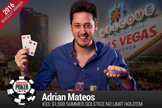 Adrián Mateos vence o Summer Solstice da WSOP 2016/CardPlayer.com.br