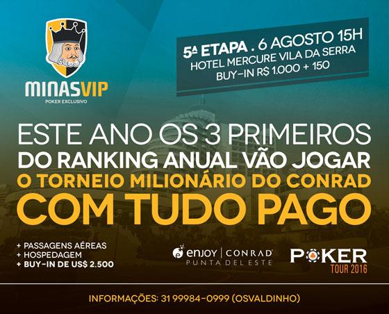 Quinta etapa da Minas Vip acontece neste sábado/CardPlayer.com.br