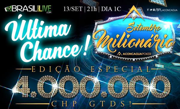 Participe do último dia classificatório do Setembro Milionário/CardPlayer.com.br
