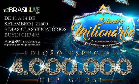 Vai começar o Setembro Milionário com mais de R$ 1.350.000 garantidos/CardPlayer.com.br