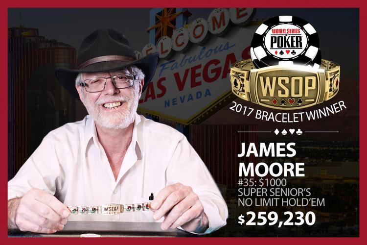 Pelo segundo ano consecutivo, James Moore crava o Super Seniors da WSOP/CardPlayer.com.br