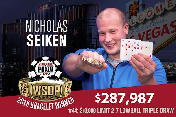 Nicholas Seiken leva a melhor no Evento 44 da WSOP/CardPlayer.com.br