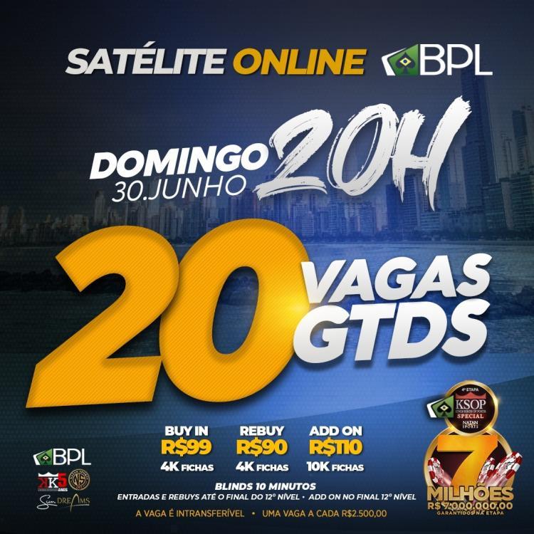 Mega Satélite no BPL vai distribuir ao menos 20 vagas para o KSOP Special/CardPlayer.com.br