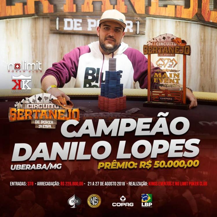 Danilo Lopes vence etapa do Circuito Sertanejo em Araxá/CardPlayer.com.br