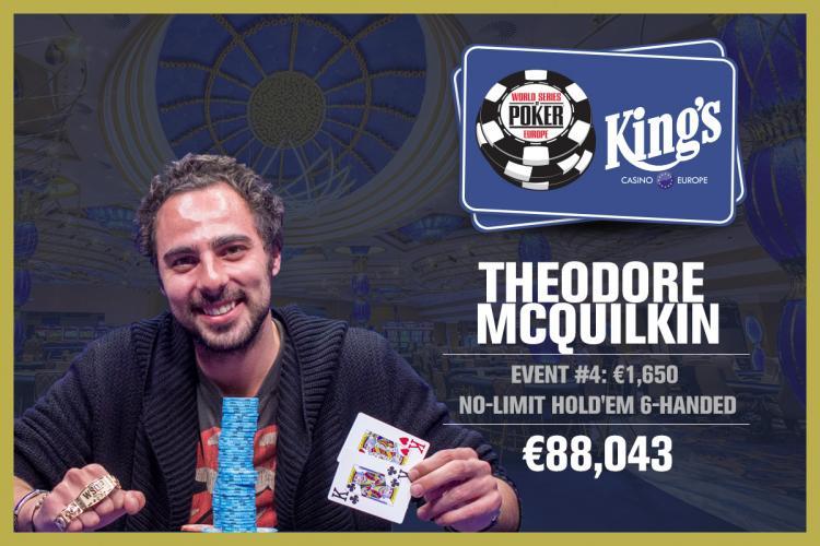 Theodore McQuilkin leva a melhor no Evento 4 da WSOP Europa/CardPlayer.com.br