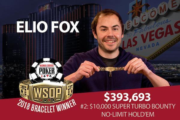 Elio Fox conquista o primeiro bracelete da WSOP 2018/CardPlayer.com.br