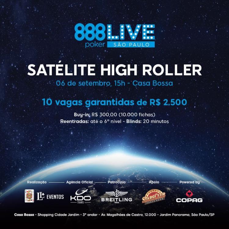 Satélite no 888Live São Paulo vai oferecer dez vagas para o High Roller/CardPlayer.com.br